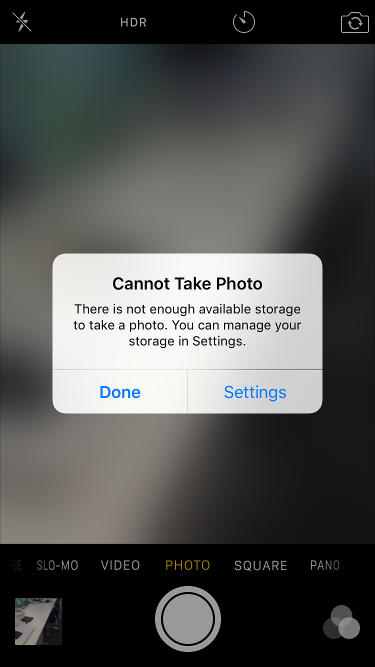 Cannot take photo on iphone